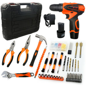 117pc Cordless Electric Drill 2 speed Hammer Screwdriver Wrench Electrician Tool
