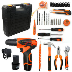36 In 1 Cordless Electric Drill 2 speed Hammer Screwdriver Wrench Toolbox Kit