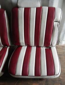 1977 Cadillac Deville Seat Set Front Rear Custom Vinyl Red White