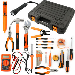 34pcs Electrician s Tools Set Home Commercial Electric Screwdriver Wrench Box