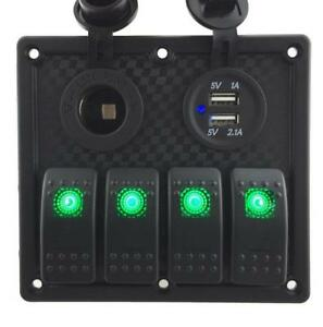 Iztoss 12v 24v Dc 4 Gang Waterproof Marine Red Led Switch Panel With Power