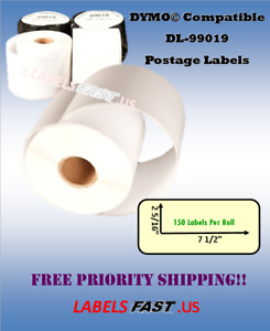 Dymo Compatible 99019 Postage Mailing 150 Labels Thermal Adhesive Labeling