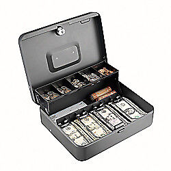 Steelmaster r Tiered Tray Cash Box 10 Compartments Gray