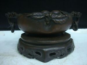 Unusual Chinese Antique Bronze Incense Burner Xuande Mark Censer With Base
