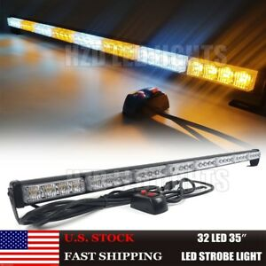 35 Led Traffic Advisor Directional Flash Emergency Strobe Light Bar Amber White