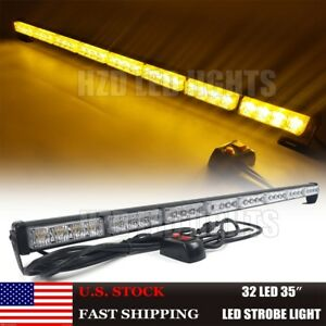 35 32 Led Traffic Advisor Directional Flash Emergency Strobe Light Bar Amber