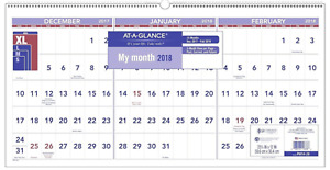 At a glance 3 month Reference Wall Calendar December 2017 February 2019 12 Pack