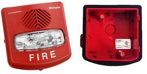 Simplex 4906 9131 Weather Proof Av Red Fire Alarm with 4905 9828 Back Box New