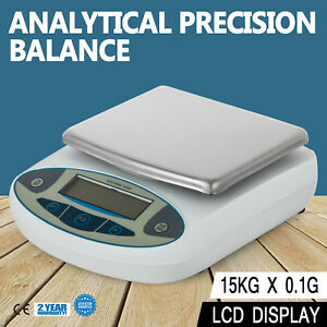 Lcd Lab Analytical Balance Digital Precision Scale 15000 X 0 1g 15kg 33lbs
