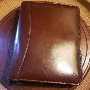 Vintage Franklin Covey Classic Planner Brown Full Grain Leather Organizer 8 X 10
