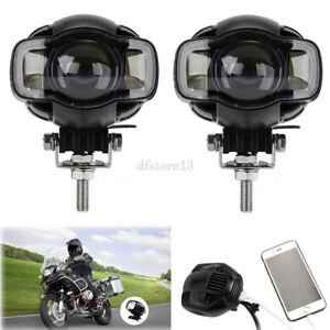 Pair Motorcycle 20w Led Headlight Spotlight Fog Lights Usb Charger For Harley Us