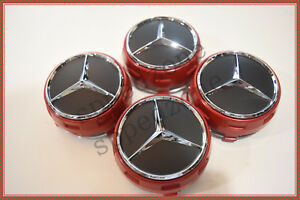 4 Pc Set Mercedes Benz Wheel Raised Center Caps Ember Red Black Hubcaps 75mm