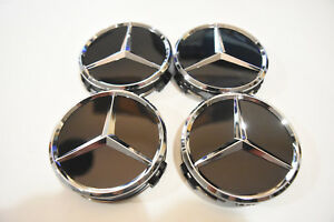 Mercedes Benz Center Caps 4x Gloss Black Chrome 3 Inch 75mm Fits Most Models