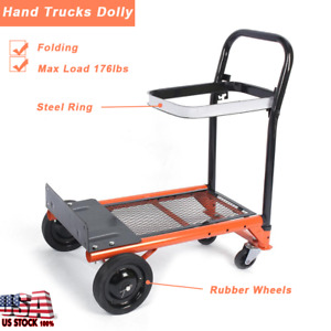 176lbs Hand Truck Dolly Folding Push Pull Cart Utility Moving Load Trolley Us
