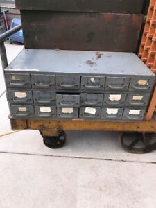 Vintage Equipto 18 Drawer 3 Unit Tower Metal Industrial Parts Organizer Cabinet
