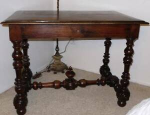 French Walnut Side Table With Turned Legs Circa 1860 France