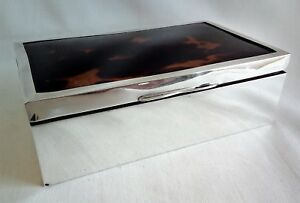 George V Art Deco Sterling Silver And Faux Tortoiseshell Cigarette Box 1922