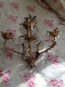 Antique Gilded Candle Sconces With Glass Drops