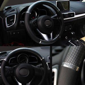 Carbon Fiber Look Car Steering Wheel Cover 38cm 15 Soft Leather Auto Suv Truck