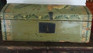 Outstanding Antique Painted Wood Bride S Box Chest Trunk