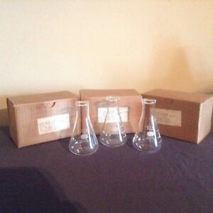 Vintage Pyrex Glass Erlenmeyer Chemistry Flasks Beakers Gift For Science Lover