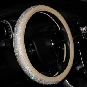 Beige Leather White Rhinestone Car Steering Wheel Cover 38cm For Girls Ladies