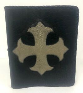 King Baby Black Leather 3 Ring Binder With Cream Color Stingray Cross Nwt