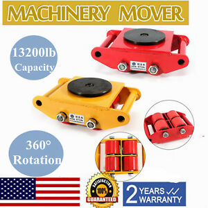 6t Heavy Duty Machine Dolly Skate Roller Machinery Mover 360 Rotation 2 Colors