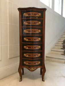 19th Century Antique Marquetry French Empire Drawer Chest With Gilded Details