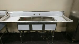Kti Three Compartment Sink W double Drainboards Ecs 3 2d