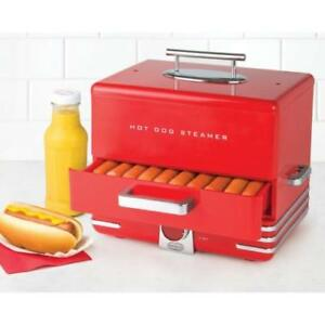 Hot Dog Steamer Cooker Machine Dinner Warmer Picinic Food Cooking Red 24 buns