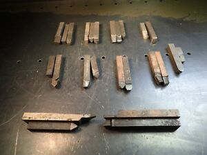 25 Pieces Of Brazed Carbide Lathe Tool Bits 7 16 To 1 2 Wide Shanks Used Good
