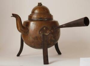 Antique Copper Tea Kettle With Wrought Iron Mountings Sweden C 1900