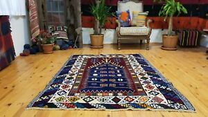 Beauiful Vintage 1950 1960s Natural Indigo Dyes 4 1 5 7 Wool Pile Prayer Rug