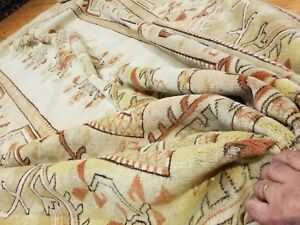 Exquisite Vintage 1950 1960s Muted Natural Dye Wool Pile Oushak Rug 7x10ft