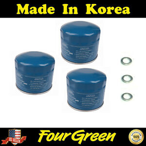 3 Pcs Engine Oil Filter For 86 19 Hyundai Accent Elantra Kia Forte With Washers