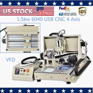 4axis 6040 Usb Cnc Router Engraver Machine Drilling 1500w Cutter Carving Pcb Mdf