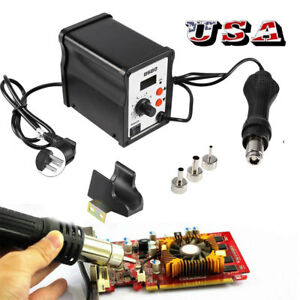 858d 110v Electric Led Rework Soldering Station Desoldering Hot Air Gun Tool Us