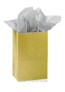 Paper Shopping Bags 100 Glossy Gold Retail Merchandise 5 X 3 X 8