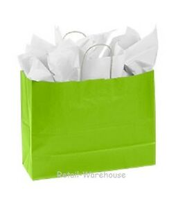 Paper Shopping Bags 100 Lime Green Retail Merchandise 16 X 6 X 12 H vogue
