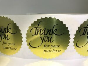 2000 Thank You For Your Purchase 2 Sticker Starburst Gold Foil New Thank You