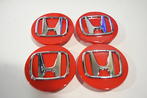 Replacement Red Honda 69mm 2 3 4 Set Of 4 Wheel Center Caps