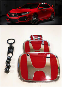 Speed Red H Emblem 3pcs Set Front Rear For 06 15 Honda Civic Sedan Dx Ex Lx Si