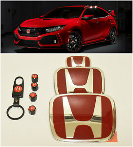 Speed Set Red H Emblem Front Rear Steering Wheel Fit 2016 18 Honda Civic Sedan
