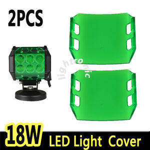 2x Snap On Green Lens Cover For 4 Inch 18w Led Work Light Bar Offroad 4wd Lamp
