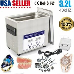 3 2 L Digital Heated Ultrasonic Cleaner Jewelry Eyeglasses Rings Professional