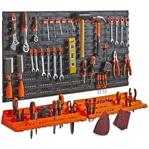 Vonhaus 50 Piece Pegboard Shelf Wall Mounted Panel Set Tool Storage Organizer