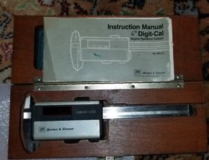 Antique Brown Sharpe 599 572 Digit cal 6 Caliper In Wood Box Wysiwyg