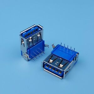 10pcs Usb 3 0 Type A 9pin Right Angle Dip Female Socket Pcb Solder Connector