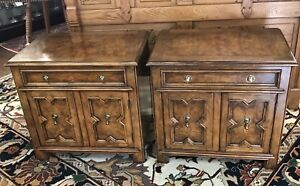 Pair Baker Furniture Company Walnut Nightstands End Tables W Orig Brass Pulls